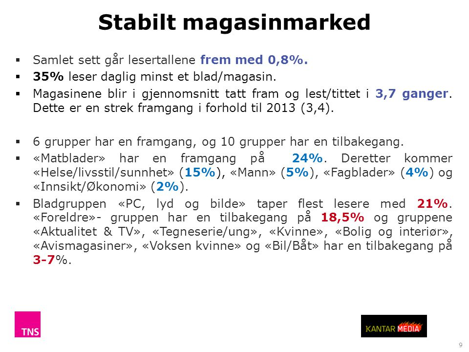 Stabilt magasinmarked