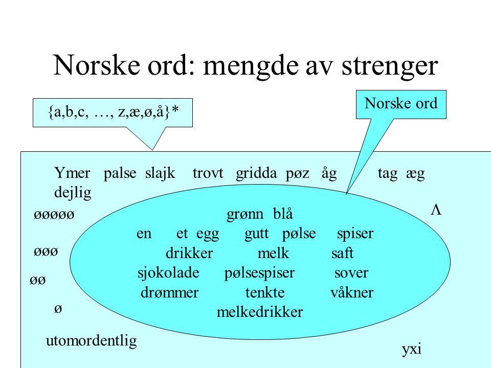 Norske ord: mengde av strenger