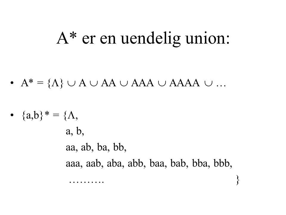 A* er en uendelig union: