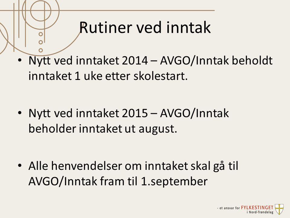 Rutiner ved inntak Nytt ved inntaket 2014 – AVGO/Inntak beholdt inntaket 1 uke etter skolestart.