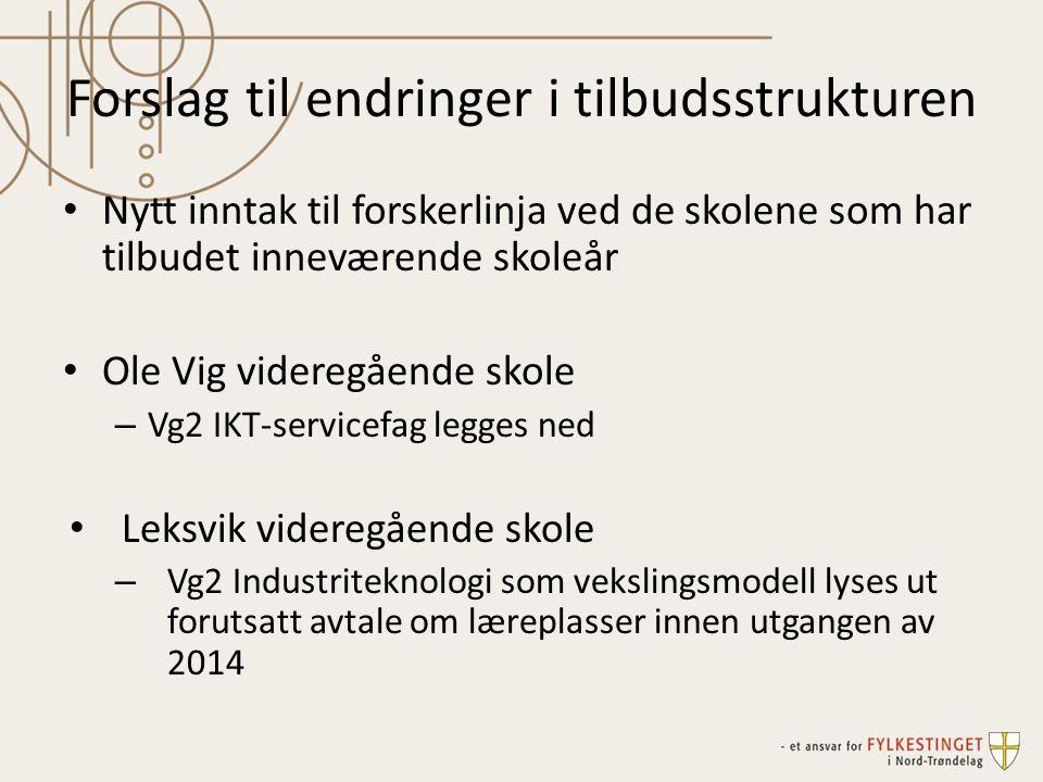 Forslag til endringer i tilbudsstrukturen