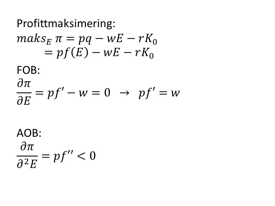 Profittmaksimering: 𝑚𝑎𝑘𝑠 𝐸 𝜋=𝑝𝑞−𝑤𝐸−𝑟 𝐾 0 =𝑝𝑓 𝐸 −𝑤𝐸−𝑟 𝐾 0 FOB: 𝜕𝜋 𝜕𝐸 =𝑝𝑓′−𝑤=0 → 𝑝𝑓′=𝑤 AOB: 𝜕𝜋 𝜕 2 𝐸 =𝑝𝑓′′<0