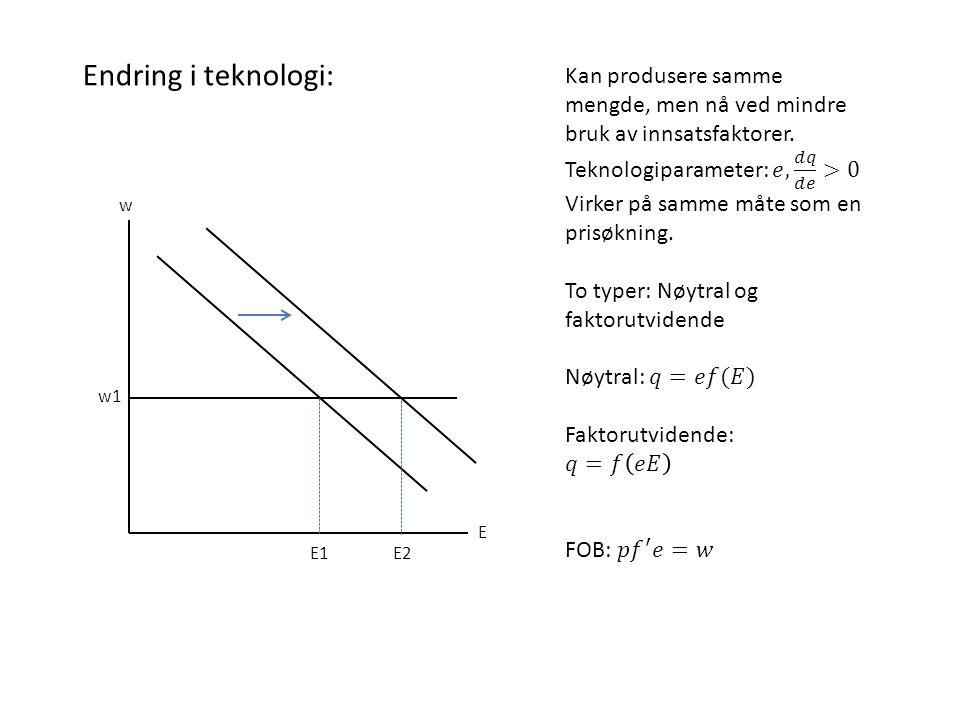 Endring i teknologi: Kan produsere samme mengde, men nå ved mindre bruk av innsatsfaktorer. Teknologiparameter: 𝑒, 𝑑𝑞 𝑑𝑒 >0.