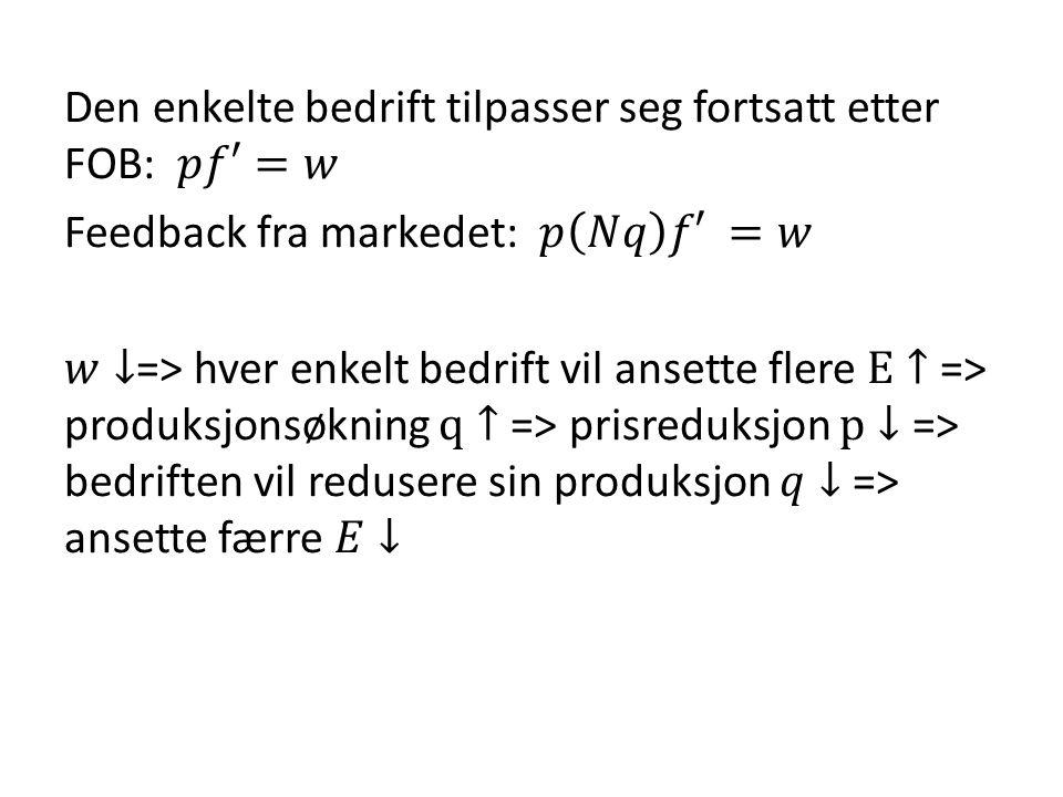 Den enkelte bedrift tilpasser seg fortsatt etter FOB: 𝑝𝑓′=𝑤 Feedback fra markedet: 𝑝 𝑁𝑞 𝑓′ =𝑤 𝑤↓=> hver enkelt bedrift vil ansette flere E↑ => produksjonsøkning q↑ => prisreduksjon p↓ => bedriften vil redusere sin produksjon 𝑞↓ => ansette færre 𝐸↓