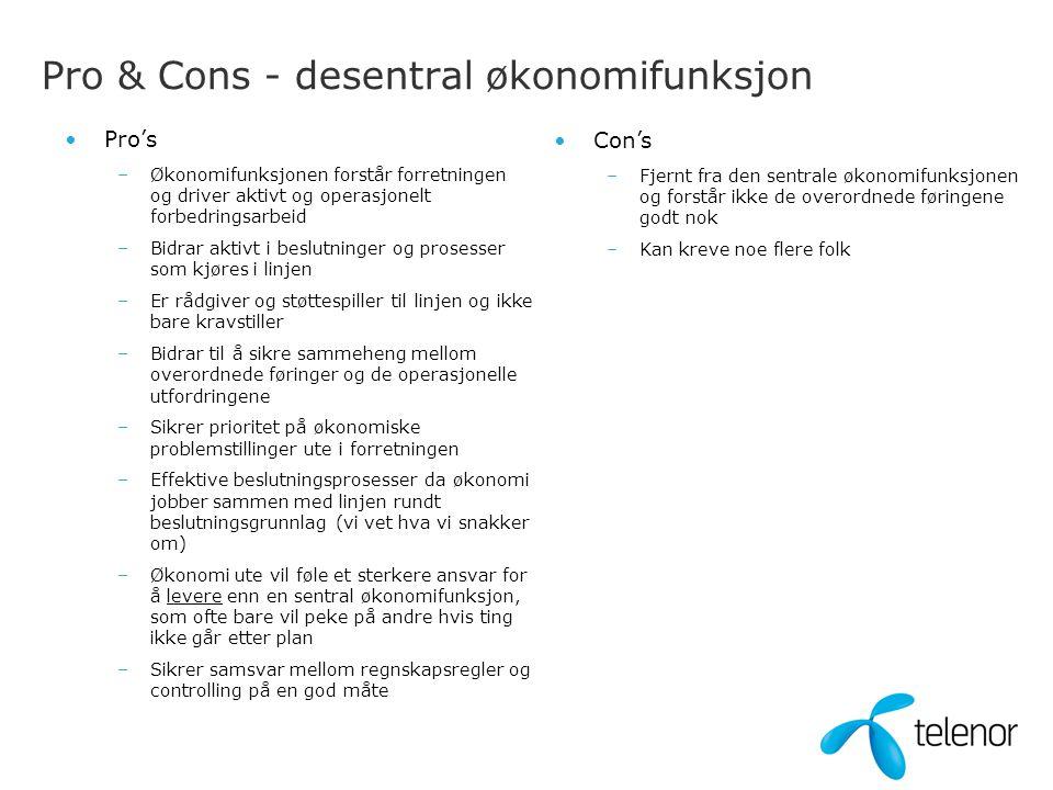 Pro & Cons - desentral økonomifunksjon