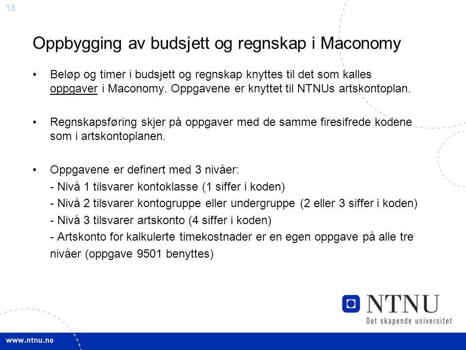 Oppbygging av budsjett og regnskap i Maconomy