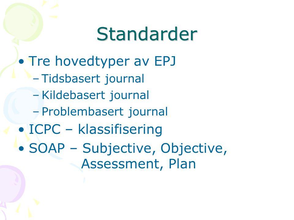 Standarder Tre hovedtyper av EPJ ICPC – klassifisering