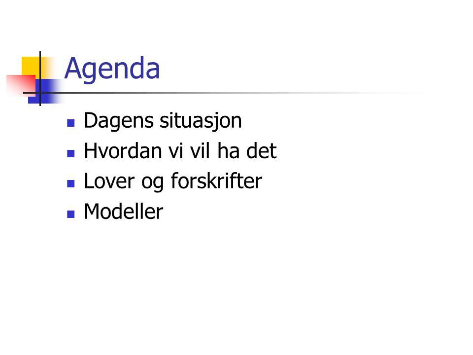 Agenda Dagens situasjon Hvordan vi vil ha det Lover og forskrifter