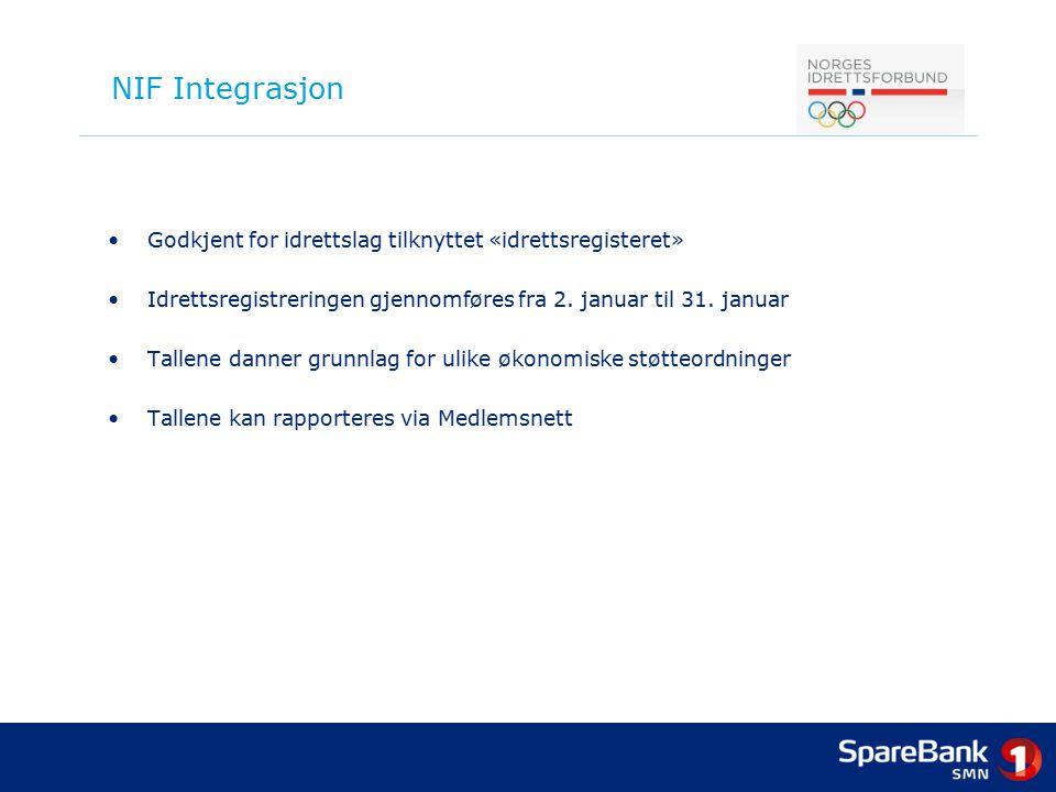 NIF Integrasjon Godkjent for idrettslag tilknyttet «idrettsregisteret»