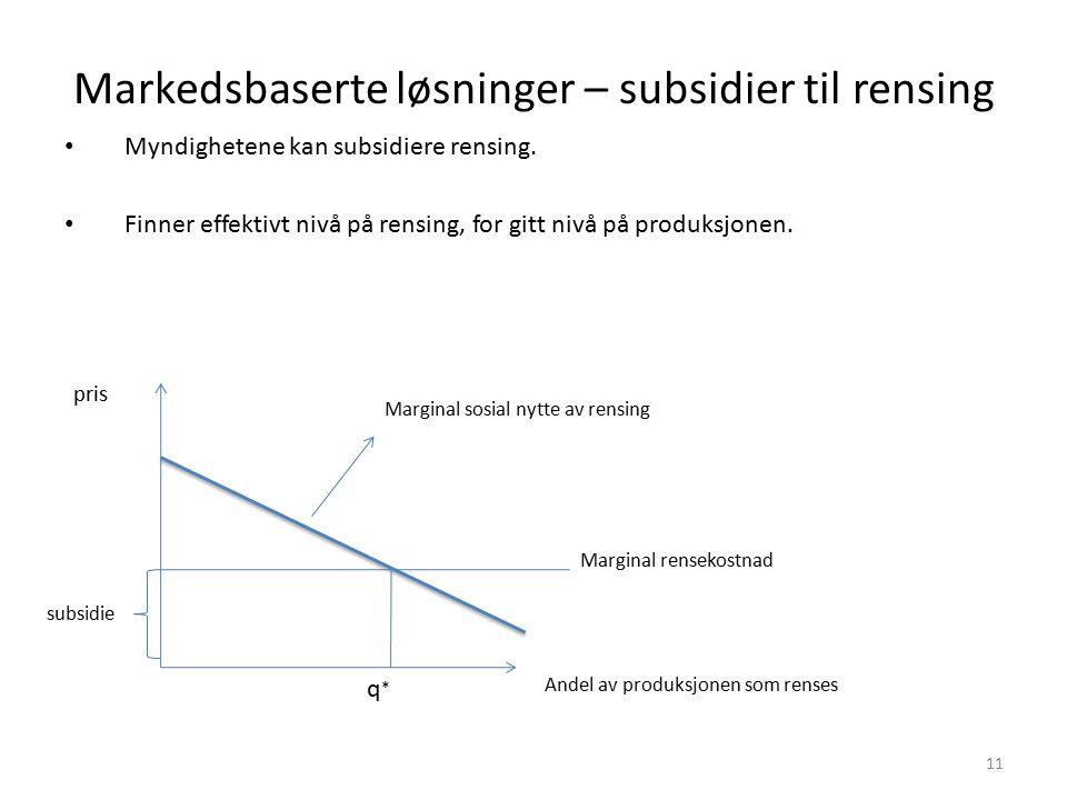 Markedsbaserte løsninger – subsidier til rensing