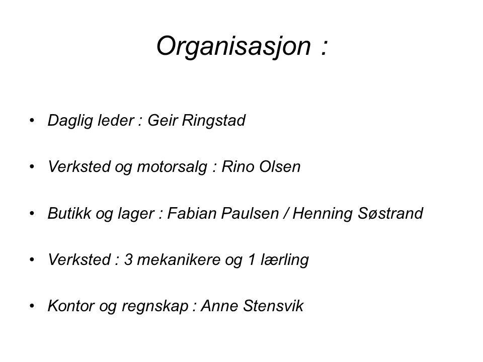 Organisasjon : Daglig leder : Geir Ringstad