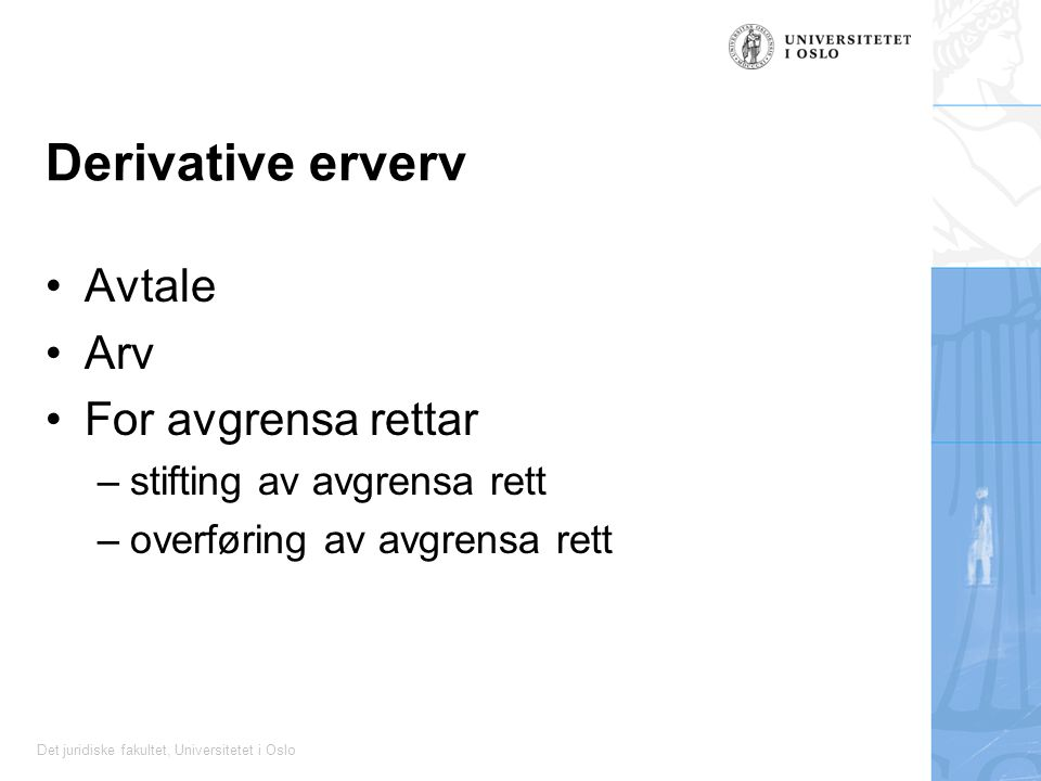 Derivative erverv Avtale Arv For avgrensa rettar
