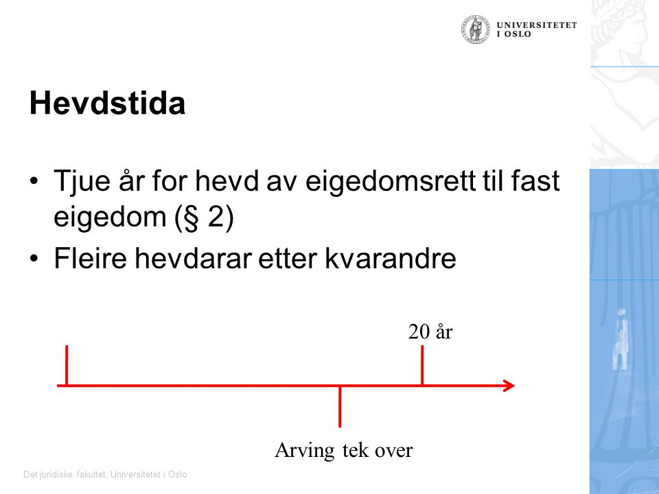 Hevdstida Tjue år for hevd av eigedomsrett til fast eigedom (§ 2)