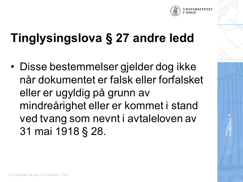 Tinglysingslova § 27 andre ledd