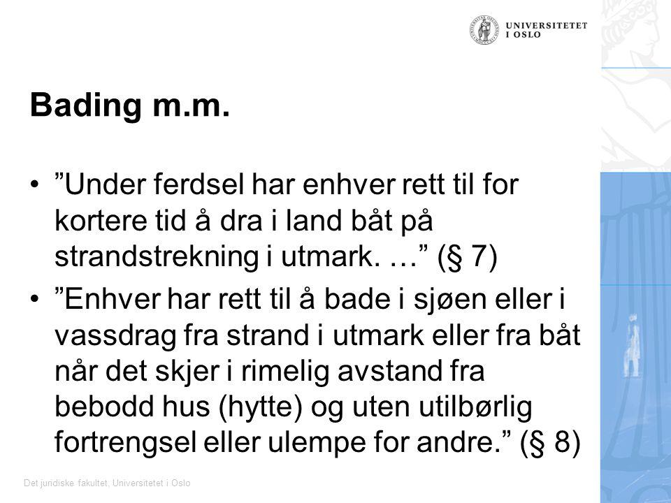 Bading m.m. Under ferdsel har enhver rett til for kortere tid å dra i land båt på strandstrekning i utmark. … (§ 7)