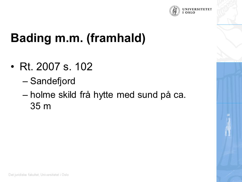 Bading m.m. (framhald) Rt. 2007 s. 102 Sandefjord