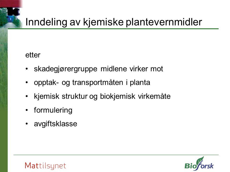 Inndeling av kjemiske plantevernmidler