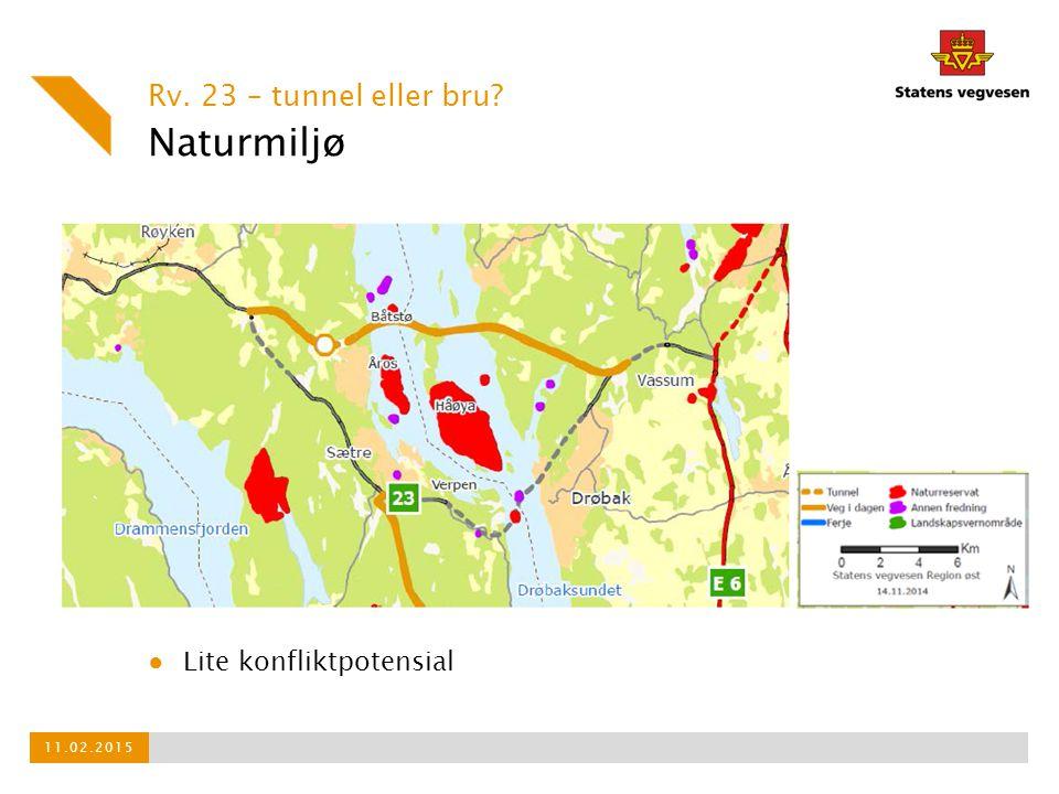 Naturmiljø Rv. 23 – tunnel eller bru Lite konfliktpotensial