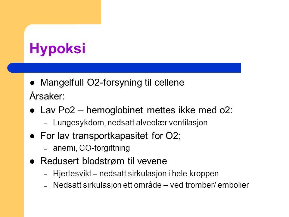 Hypoksi Mangelfull O2-forsyning til cellene Årsaker:
