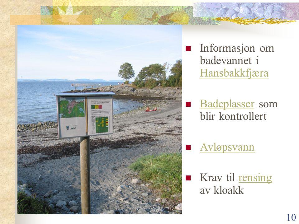 Informasjon om badevannet i Hansbakkfjæra
