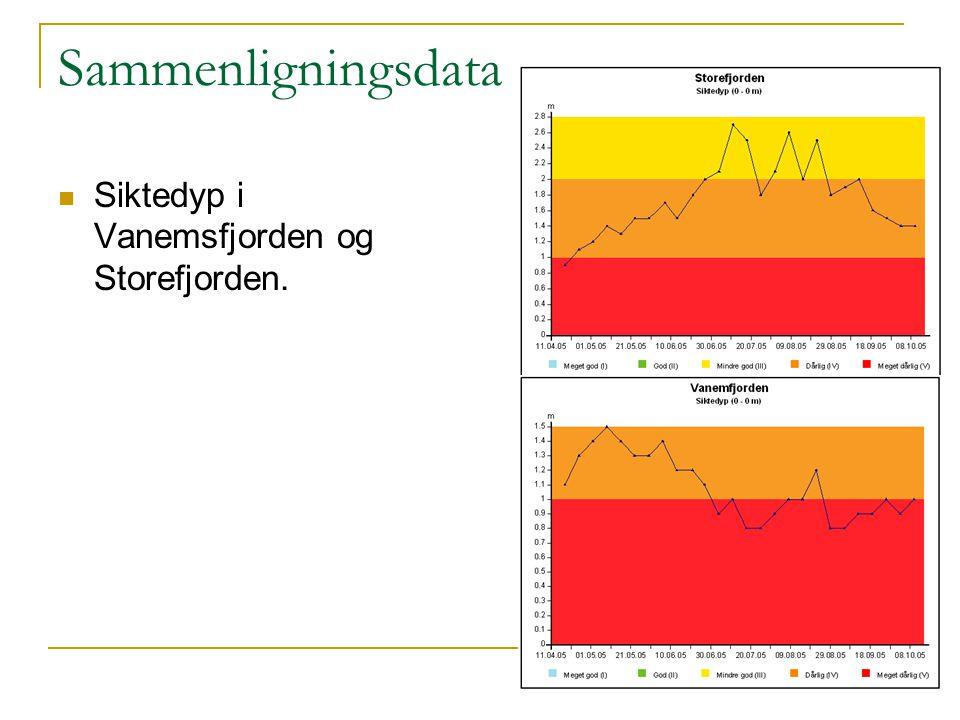 Sammenligningsdata Siktedyp i Vanemsfjorden og Storefjorden.