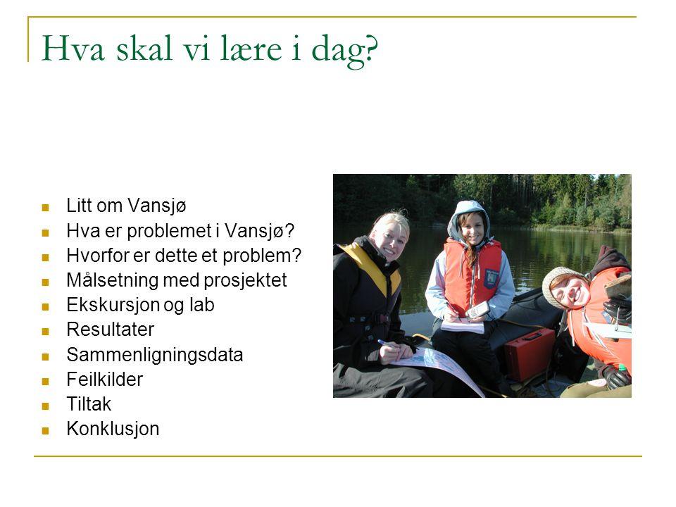 Hva skal vi lære i dag Litt om Vansjø Hva er problemet i Vansjø