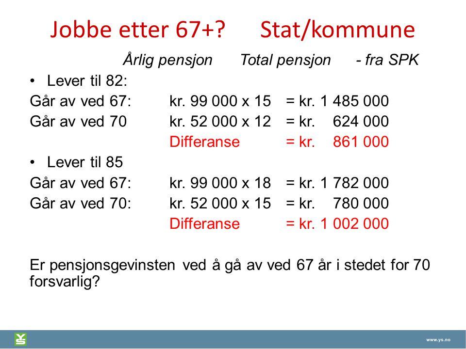 Jobbe etter 67+ Stat/kommune