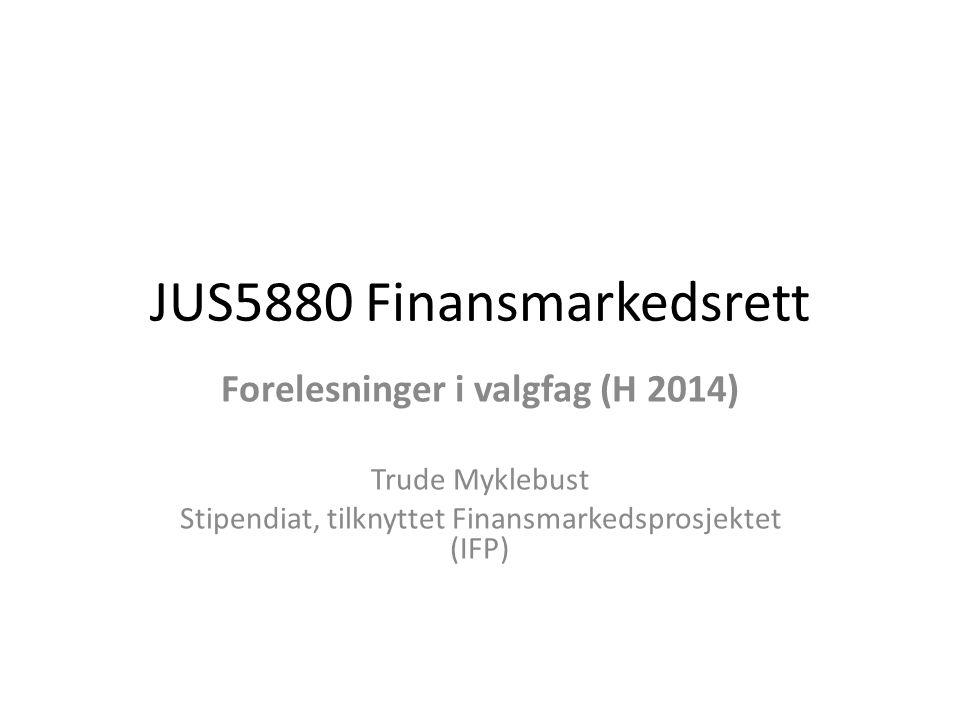 JUS5880 Finansmarkedsrett