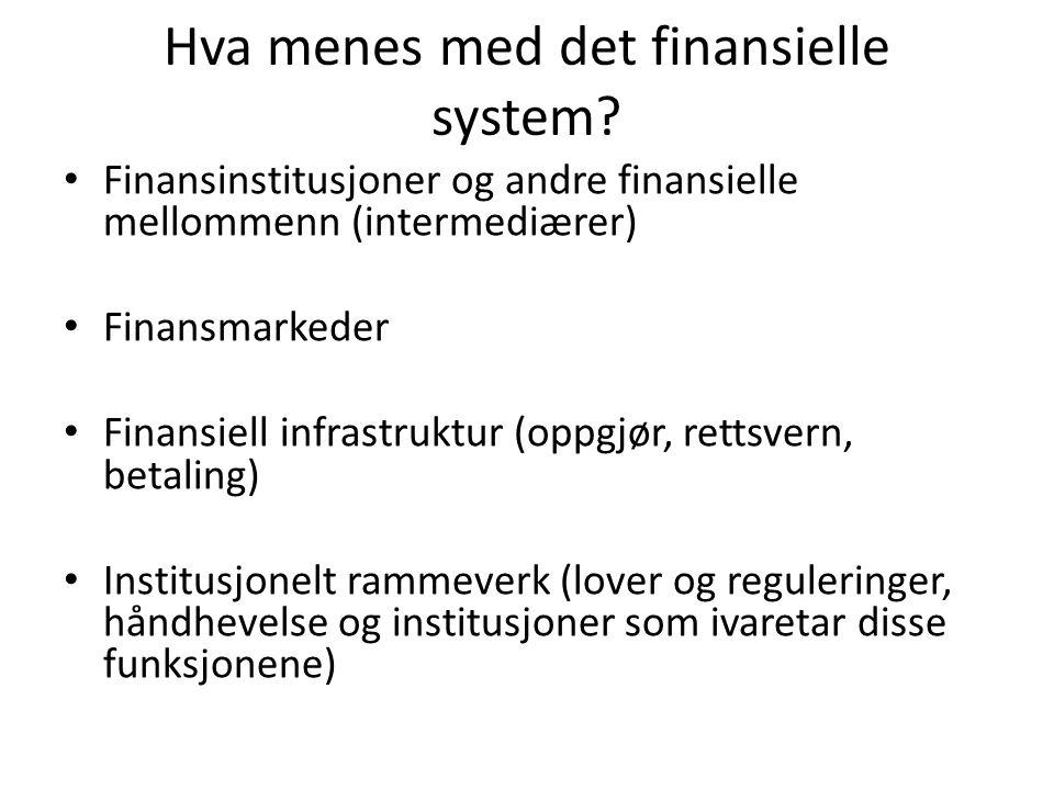 Hva menes med det finansielle system