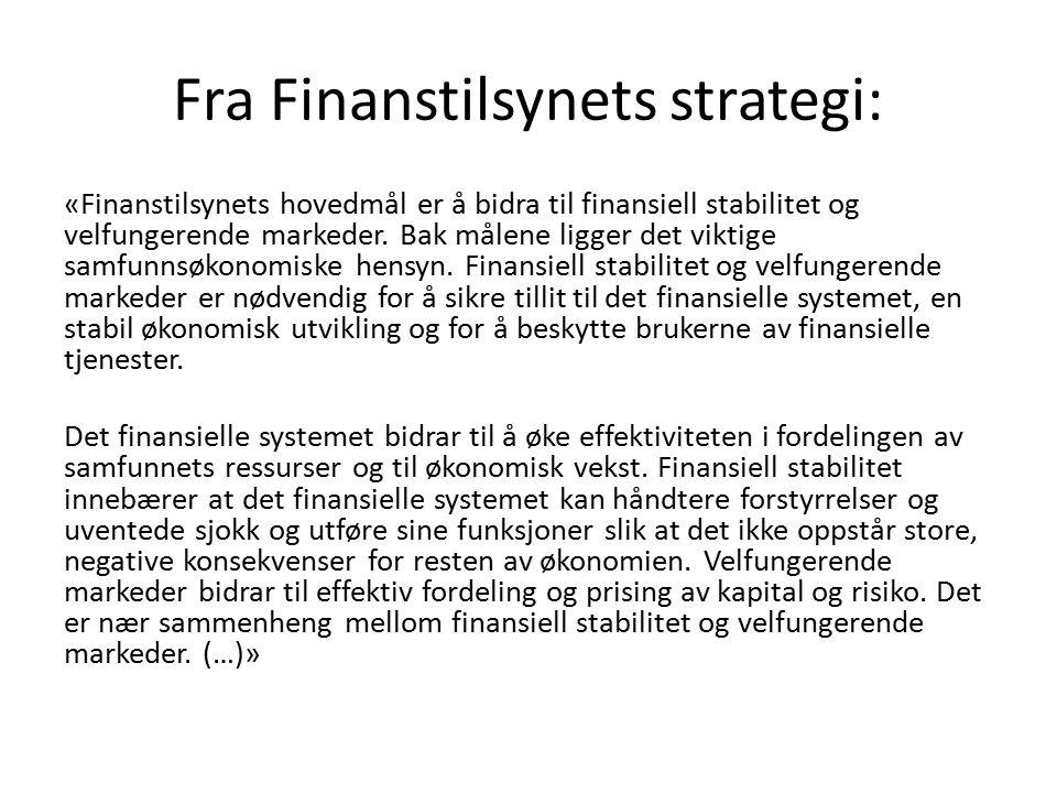Fra Finanstilsynets strategi: