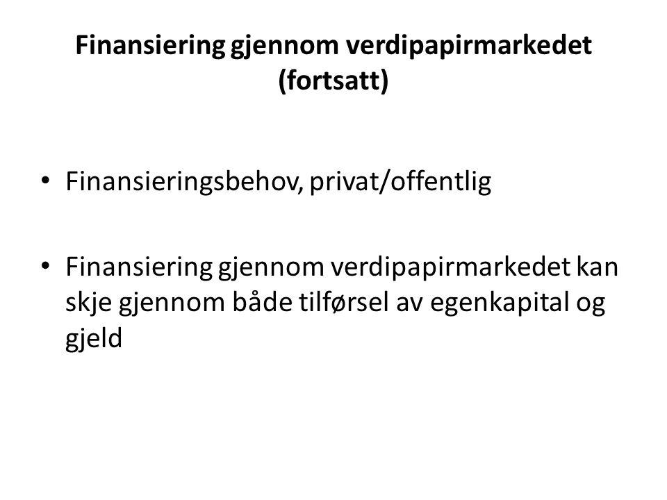 Finansiering gjennom verdipapirmarkedet (fortsatt)