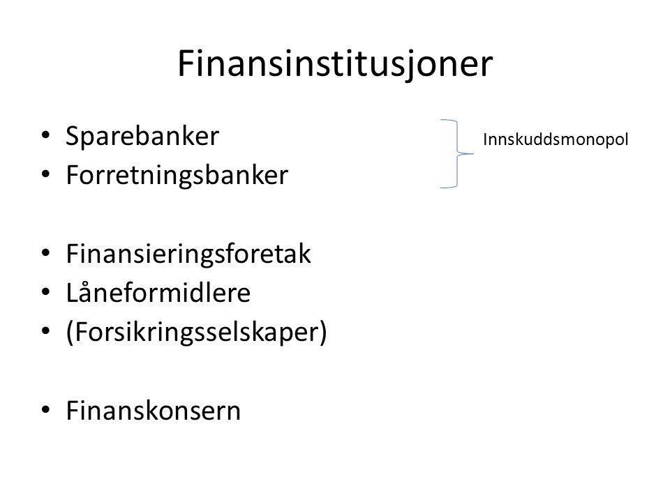 Finansinstitusjoner Sparebanker Innskuddsmonopol Forretningsbanker