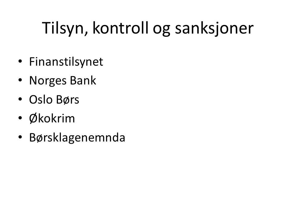 Tilsyn, kontroll og sanksjoner