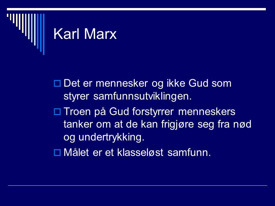 Karl Marx Det er mennesker og ikke Gud som styrer samfunnsutviklingen.