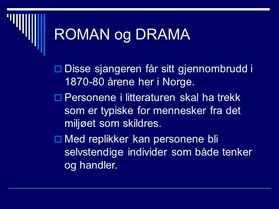 ROMAN og DRAMA Disse sjangeren får sitt gjennombrudd i 1870-80 årene her i Norge.