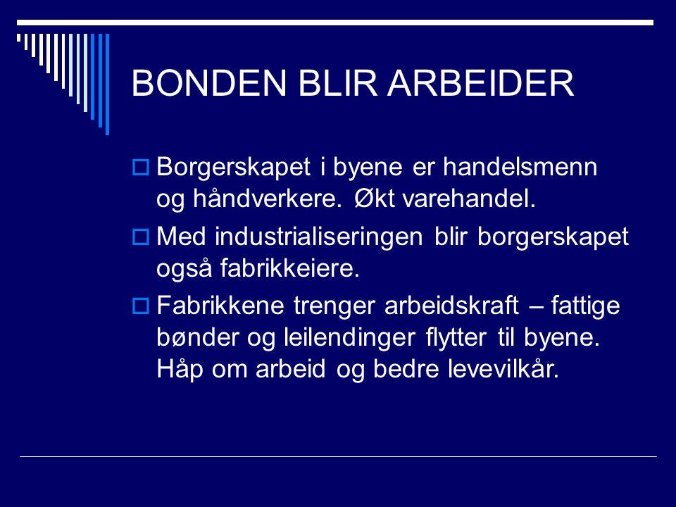 BONDEN BLIR ARBEIDER Borgerskapet i byene er handelsmenn og håndverkere. Økt varehandel.