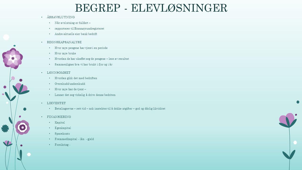 BEGREP - ELEVLØSNINGER
