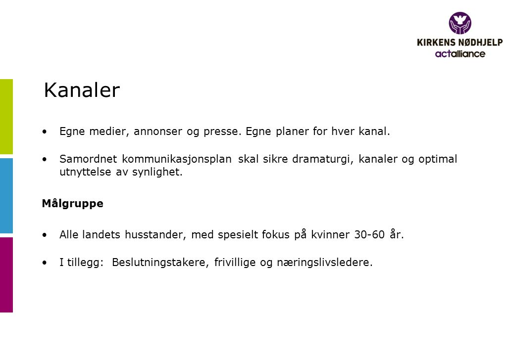 Kanaler Egne medier, annonser og presse. Egne planer for hver kanal.