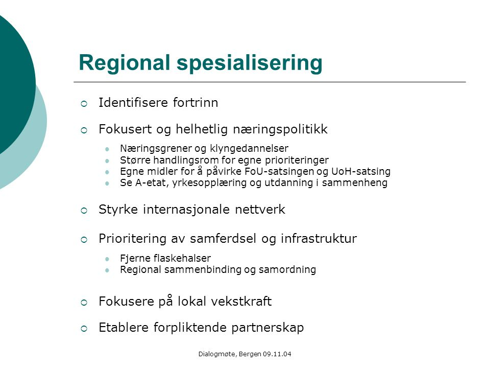 Regional spesialisering