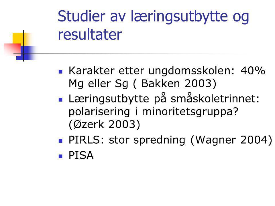 Studier av læringsutbytte og resultater