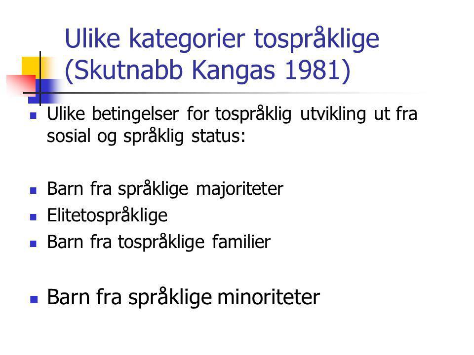 Ulike kategorier tospråklige (Skutnabb Kangas 1981)