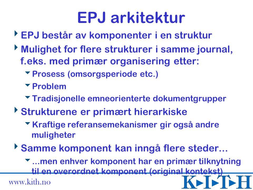 EPJ arkitektur EPJ består av komponenter i en struktur