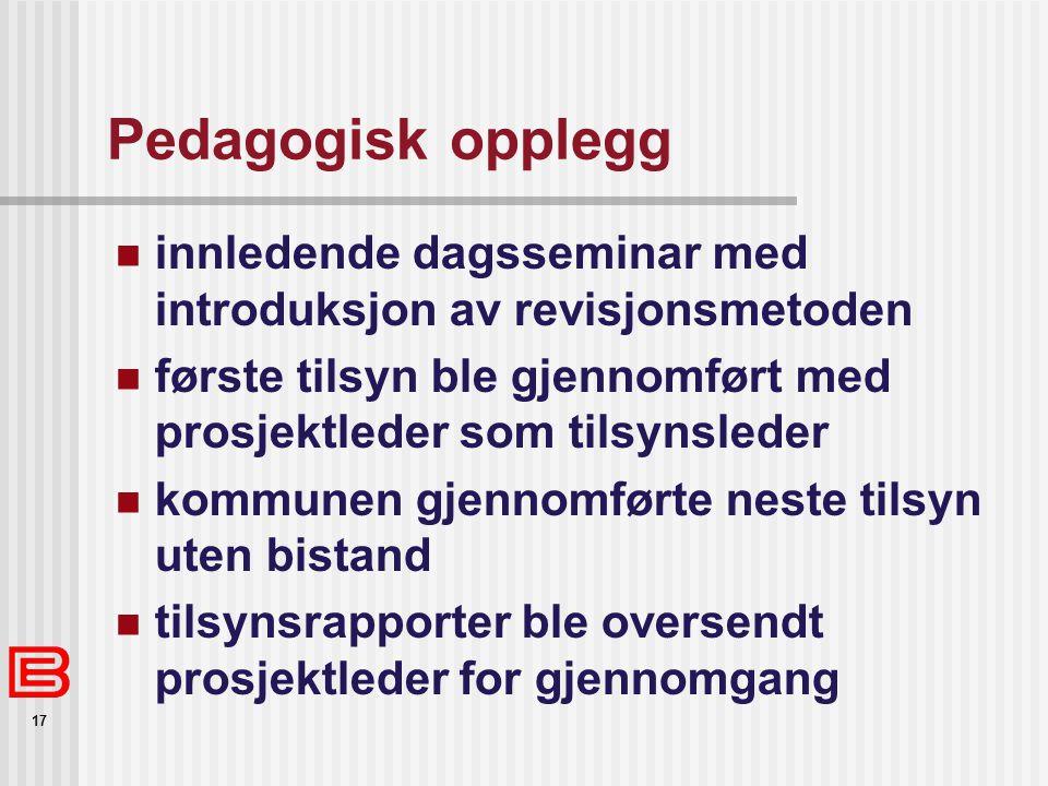 Pedagogisk opplegg innledende dagsseminar med introduksjon av revisjonsmetoden. første tilsyn ble gjennomført med prosjektleder som tilsynsleder.