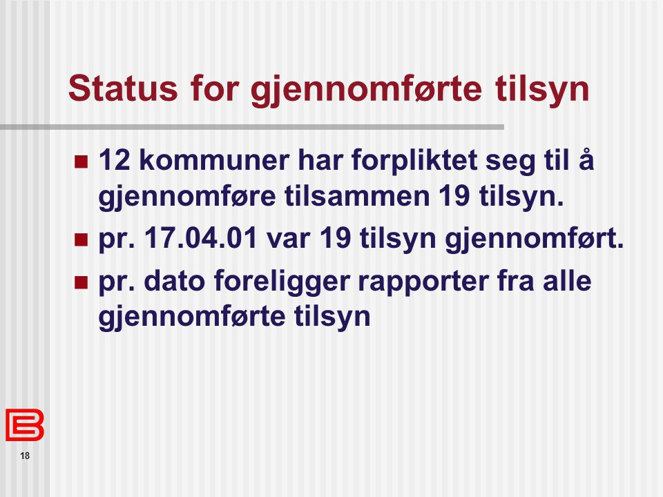 Status for gjennomførte tilsyn