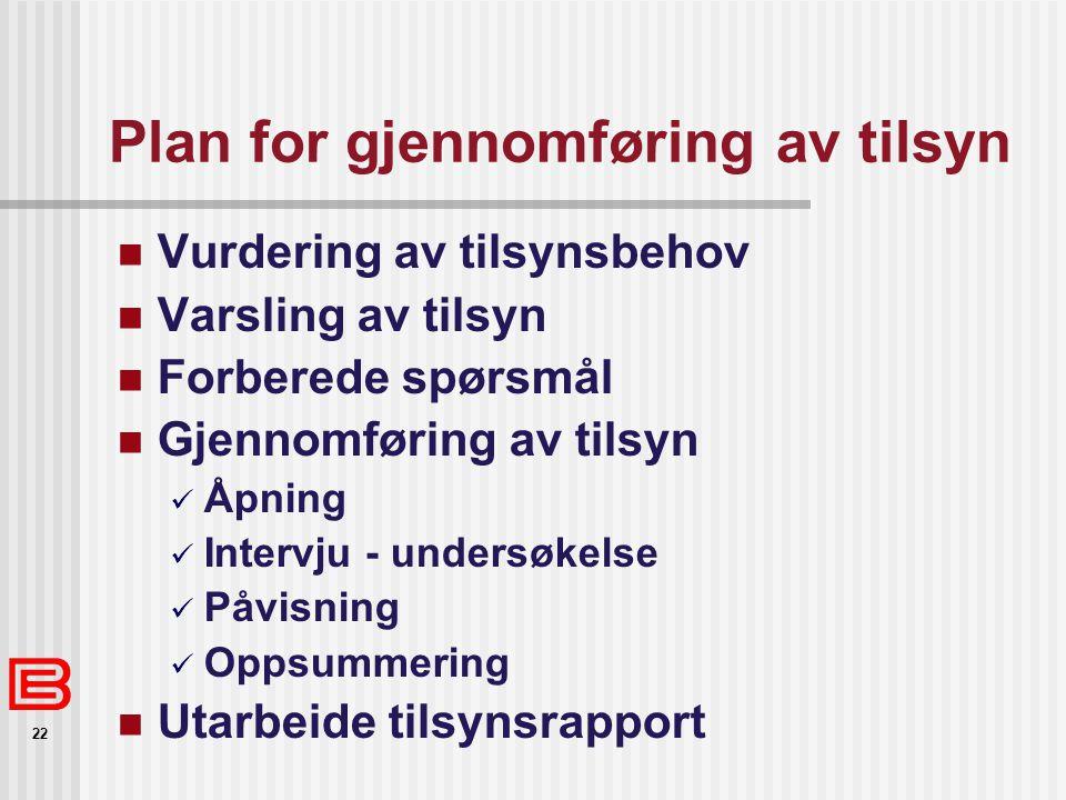 Plan for gjennomføring av tilsyn