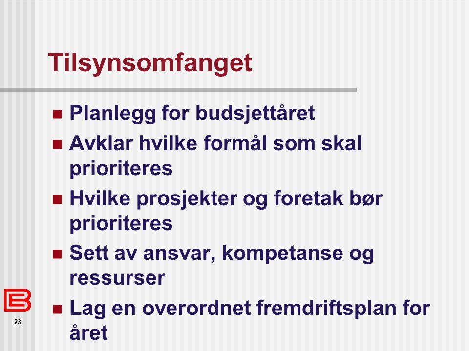 Tilsynsomfanget Planlegg for budsjettåret