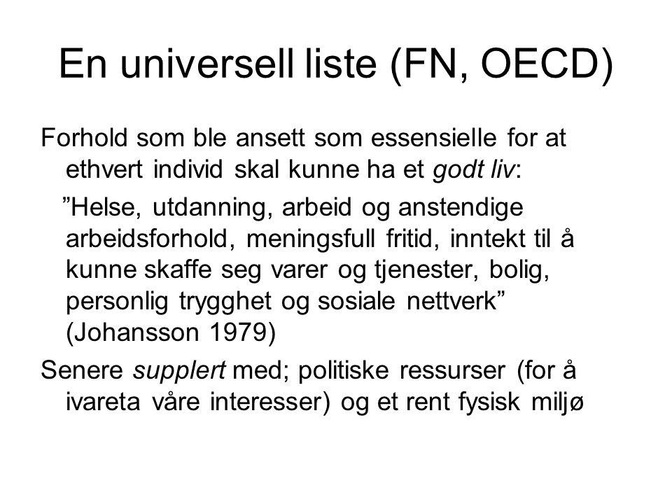 En universell liste (FN, OECD)