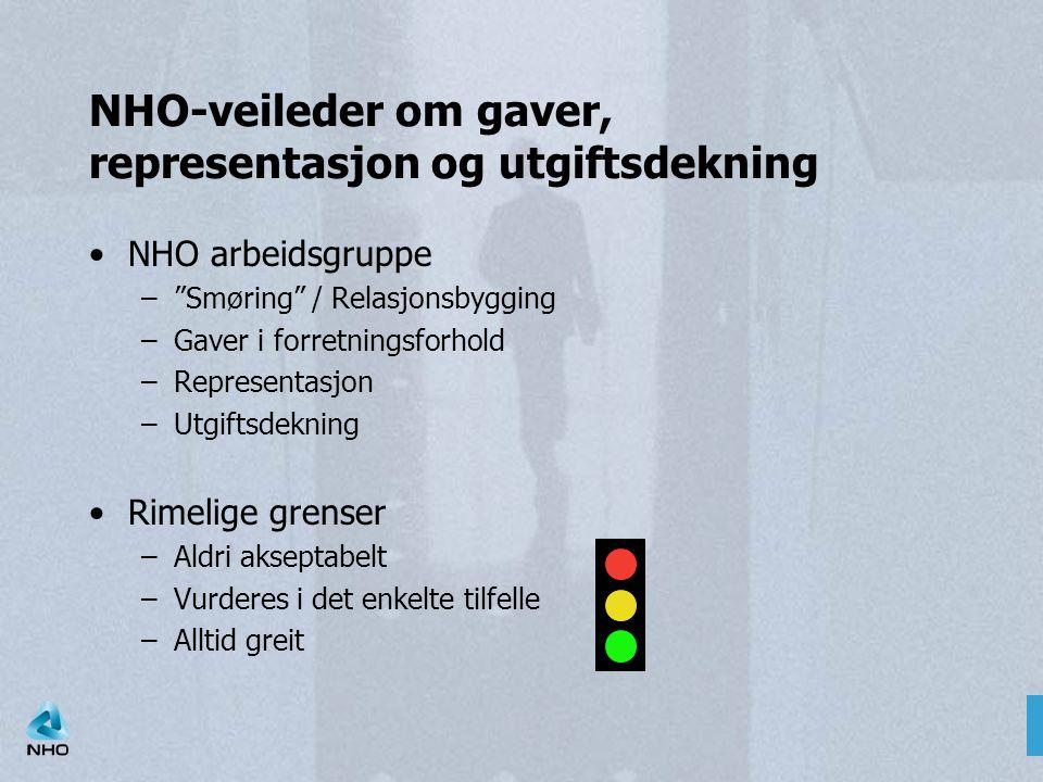 NHO-veileder om gaver, representasjon og utgiftsdekning
