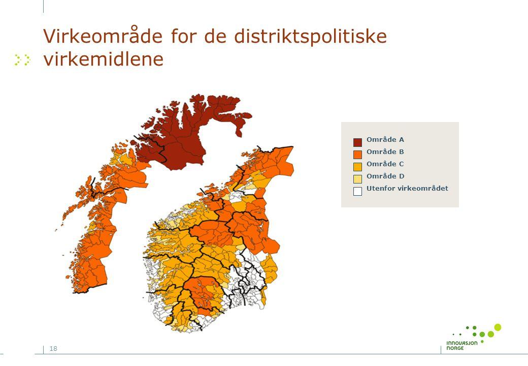 Virkeområde for de distriktspolitiske virkemidlene