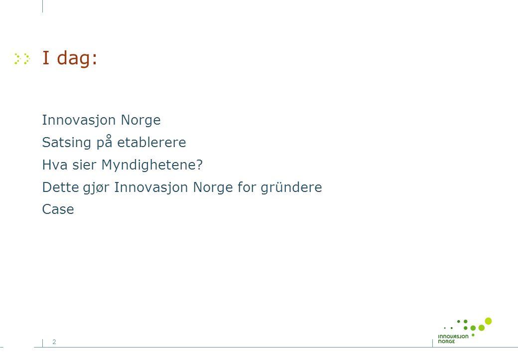 I dag: Innovasjon Norge Satsing på etablerere Hva sier Myndighetene
